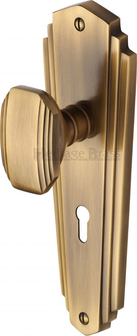 M Marcus Heritage Brass CHA1900AT Charlston Mortice Knob On Lock Backplate Antique Brass